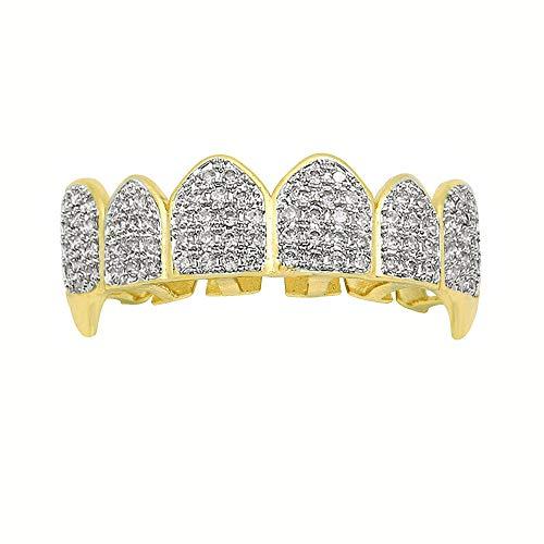 zroven Denti Hip Hop Grillz dorato argentato placcato Grillz Customizated Simulato Diamond Denti tappo superiore e inferiore Grillz Caps