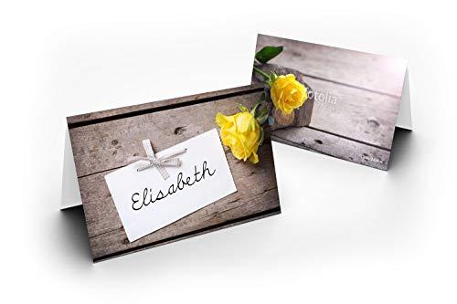 50 tafelkaarten, rozen, geel, uv-lak, glanzend, voor Kerstmis, Nieuwjaar, bruiloft, verjaardag, jubileum, tafeldecoratie, formaat, 8,5 x 11,2 cm, 850 mm x 1120 mm