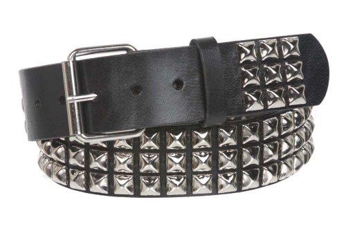 Cinturón de cuero sólido con tres filas punk rock estrella de metal plateado con tachuelas - Negro - 107 cm
