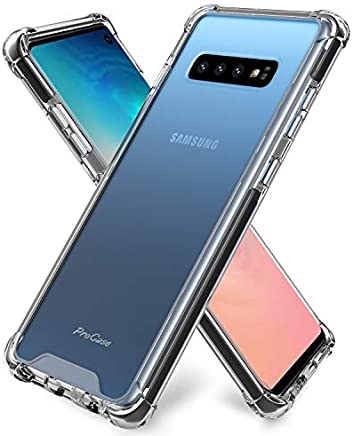 ProCase Galaxy S10 Case Clear, Slim Hybrid Crystal Clear TPU Bumper Cushion Cover with Reinforced Corners, Transparent Scratch Resistant Rugged Cover Protective Case for Galaxy S10 2019 –Clear