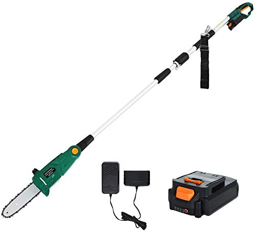 SUNCOO 20V Cordless Pole Saw, 8-Inch Telescoping Power Chain Saws, Multi-Angle Electric Chainsaw Battery Powered, Pole Pruner w/Automatic Chain Lubrication System, Battery& Charger Included