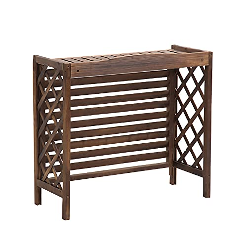 PTY Air Conditioner Fence Screen Air Conditioner Flower Stand Corner Plant Stand, Solid Wood Air Conditioner Cover Frame Air Conditioner Outside Flower Stand