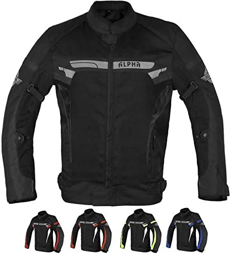 ALPHA CYCLE GEAR BREATHABLE BIKERS RIDING PROTECTION MOTORCYCLE JACKET MESH CE ARMORED BLACK product image