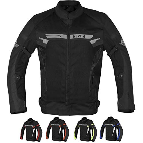 ALPHA CYCLE GEAR BREATHABLE BIKERS RIDING PROTECTION MOTORCYCLE JACKET MESH CE ARMORED (BLACK WIND, X-LARGE)