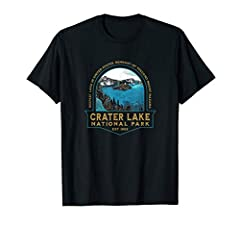 Vintage Crater Lake National Park souvenir gift apparel with retro art design. Crater Lake in Southern Oregon is the deepest lake in United States, remnants of a destroyed volcano and is home to deep blue water, cinder cones and a rich volcanic histo...