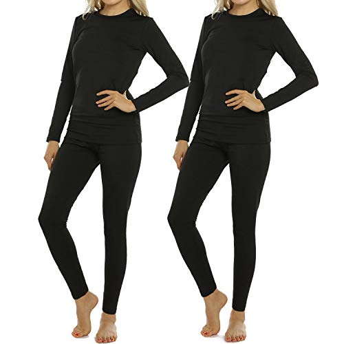 ViCherub 2 Sets Women's Thermal Underwear Set Long Johns with Fleece Lined Ultra Soft Top & Bottom Base Layer Thermals for Womens Black Medium