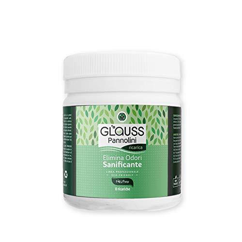 GLAUSS PANNOLINI Elimina Odori Sanificante. Neutralizza i cattivi odori di pannolini e mangiapannolini. Agisce in pochi istanti. Ricarica 8 litri