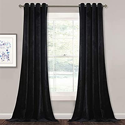 StangH Black Velvet Curtains 108 inches - Blackout Soft Luxury Velvet Panel Drapes for Bedroom Window Treatment Thermal Insulated Grommet Draperies, 52 x 108 Inches, 2 Panels