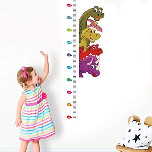 Sayla Kids Height Growth Chart Cute Little Dinosaur Height Chart Decal Child Height Wall Sticker Height Measurement Art DIY Home Decor Mural Decals for Wall Window Door Cabinet Corridor