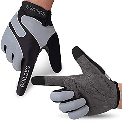 boildeg Fahrradhandschuhe Radsporthandschuhe rutschfeste und stoßdämpfende Mountainbike Handschuhe mit Signalfarbe geeiget Unisex Herren Damen