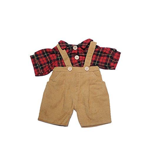 YaToy Lovers Bear Dress Shirt Pant Set Stuffed Animal Cloth Doll Girl Toy Bundle Red Grid Set