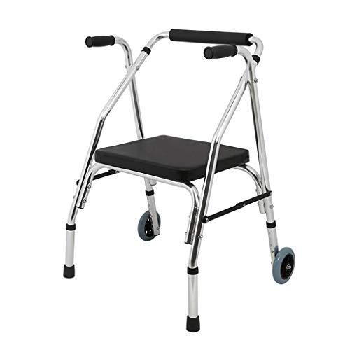 Andador para Ancianos Walker, Andador plegable de aleación de aluminio con rueda delantera direccional y cojín blando, ayuda for caminar for personas mayores, andador discapacitado for la familia y al