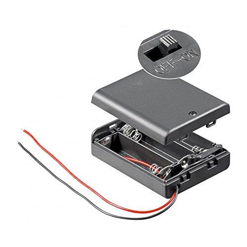 Batteriehalter | 3X AA Mignon | mit EIN Aus Schalter | lose Kabelenden | geschlossenes Gehäuse | wasserabweisend | schaltbar | Batteriefach Akkuhalter Aufbewahrungsbox | 1 Stück