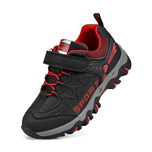 Biacolum Kids Hiking Shoes Breathable Running Tennis Sneakers for Boys Black/Red 9.5 M US Toddler