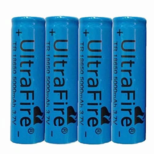 18650 Batteries Rechargeables Li-ION 5000mAh Grande capacité Lithium Batterie Bouton Top Batteries 3.7v Piles Rechargeable Batteries pour Lampe de Poche LED Lampe,18x65mm (4 Pcs)
