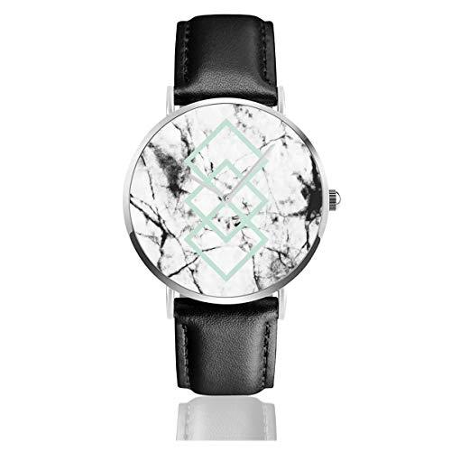Reloj de Pulsera con Correa de Cuero geométrico de Color Blanco y mármol con Aspecto de hormigón, de Cuarzo, de Acero Inoxidable clásico