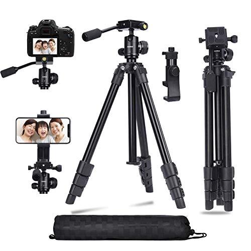 Trípode para cámara DSLR, soporte para teléfono, trípode, soporte para blogs de video vlog ligero y compacto con placa rápida y rótula panorámica de 360 ° para viajes, trabajo, vlogueo, blogs, video