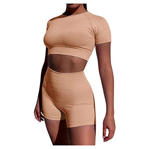 YANFANG Moda para Mujer Sexy Sólido Chaleco de Yoga Deportes Conjunto de Fitness Tops elásticos + Pantalones,Pink,S