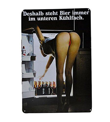Vikenner Blechschild Retro für den Bier:Deshalb Steht Bier Immer im Unteren Kuhlfach,Dekoschild Metall Werbeschild 20x30cm Nostalgie Wand-Dekoration