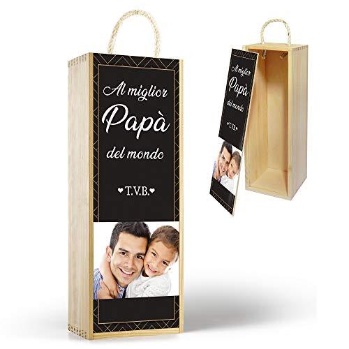 Gifty Lab Confezione da Vino o Bottiglia Personalizzata 'al Miglior papà del Mondo', Wine Box Scatola Porta Bottiglie da Vino, cod Des01