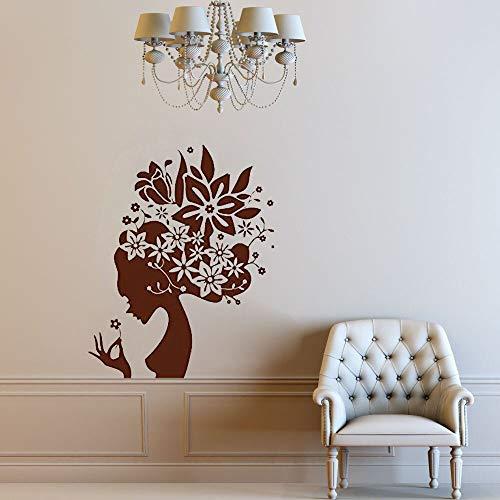 AQjept Hermosa Mujer Etiqueta de la Pared Flor floreciente Cabello Mural Creativo niña Dormitorio jardín de Infantes decoración del hogar63x80cm
