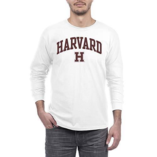 Elite Fan Shop Herren Langarmshirt, Weiß, Herren, Long Sleeve Shirt White Arch, Harvard Crimson White, XX-Large