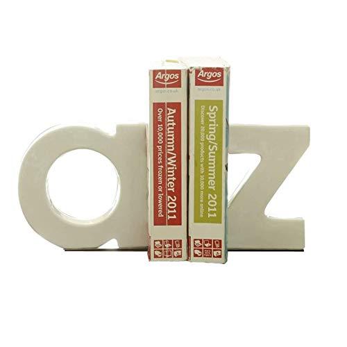 SMLZV Sujetalibros, Bookends Decorativos, Shabby Chic Vintage Blanco Alfabeto
