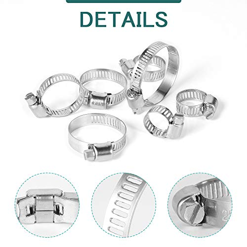 Hose Clamps Assortment, 70Pcs Worm Drive Hose Clamp Adjustable 6-38mm Diameter Range Stainless Steel Pipes Hose Ducting Clips Kit with Screwdriver for Plumbing Automotive Mechanical Application