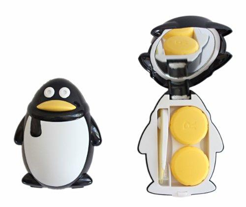 Kontaktlinsenbehälter Aufbewahrungsbehälter Etui Set Spiegel süße Pinguin Schwarz