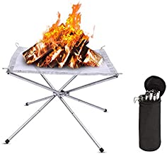 Fire Pit Portable Outdoor Pits Camping Wood Campfire Gas Burning Firepit Patio Fireplace Small Grill Outside Firepits Bonf...