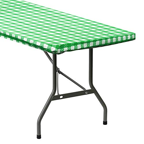 Sorfey Indoor/Outdoor Vinyl Elastic Edge Fitted Tablecloth Cover. Checkered Design, Flannel Backed Leak Proof Lining, Easy to Clean. Stretched to Fit 72 x 30 Inch Rectangle Table, Green
