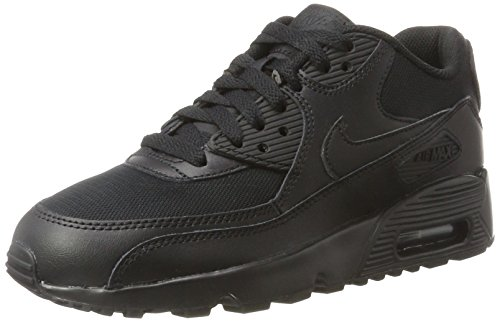Nike Nike Unisex-Kinder Air Max 90 Mesh Gs 833418-001 Low-Top, Schwarz (001 Black/Black), 36.5 EU