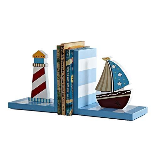 YQG Extremos del Libro, sujetalibros, sujetalibros de Madera Antideslizantes con Forma de Barco de Dibujos Animados Bonitos, sujetalibros de decoración para niños