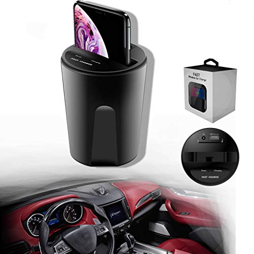 Wireless Car Charger Cup,Qi Fast Charging,Pad Holder Stand with USB Output for iPhone Xs/X/8 Samsung Galaxy S8 S7 S6 Samsung S6 Edge (Black)