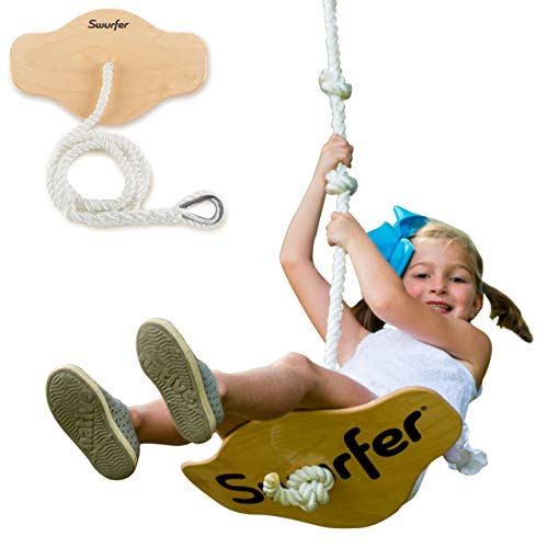 """Swurfer Swift - Maple Wood Disc Swing for Kids Ages 4 and Up, Holds up to 150 Pounds - Includes 18"""" Curved Seat Swing with Heavy Duty Braided Rope"""
