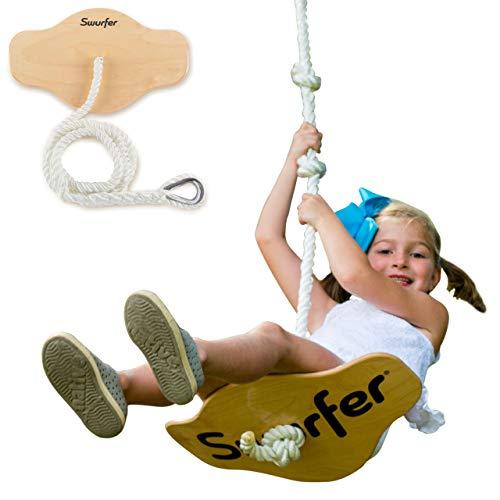 Swurfer Swift - Maple Wood Disc Swing for Kids...
