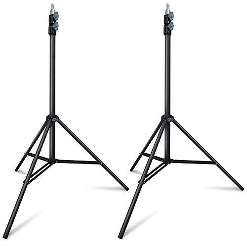 Hemmotop プロ 撮影用 ライトスタンド 2本キット 2m ストロボスタンド 写真スタジオ用 vive 三脚 アンブレラ ビデオライト ソフトボックス用 フラッシュスタンド 黒