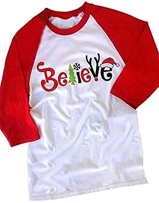 FAYALEQ Women's Believe Christmas T-Shirt Funny Santas Hat 3/4 Sleeve Raglan Shirt Tops
