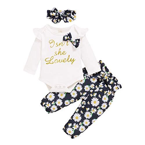 Eilecentyhzm Conjunto de ropa para bebé, para niños y niñas, con volantes, manga corta, con letras impresas, pelele + pantalones cortos de lunares + goma para el pelo Negro 100 cm