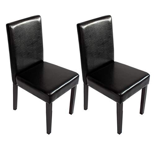 Preisvergleich Produktbild Mendler 2X Esszimmerstuhl Stuhl Küchenstuhl Littau ~ Kunstleder,  schwarz,  dunkle Beine