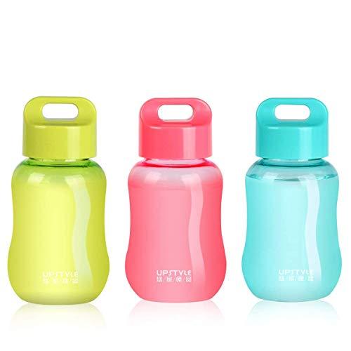 Juliguala Upstyle Mini-Flaschen, aus Kunststoff, zum Reisen, für Wasser, Sport, Milch, Kaffee, Tee, Saft, 180 ml, plastik, 3 Stück, 170,1 g (6 oz)