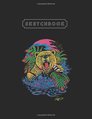 Sketchbook: Neff Psychedelic Neon Grizzly Bear Unlined Pages Sketchbook Large Size 8.5'' x 11'' x 110 Pages White Paper Blank Journal with Black Cover for Kids