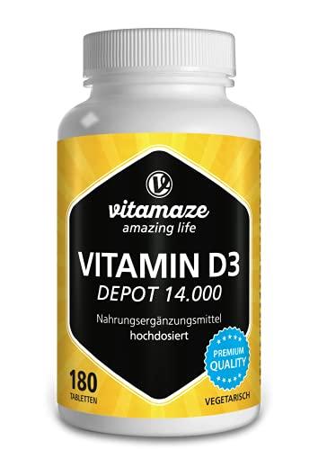 Vitamina D3 14.000 UI altamente concentrada (dosis de 14 días), 180 comprimidos vegetarianos, producto alemán de calidad
