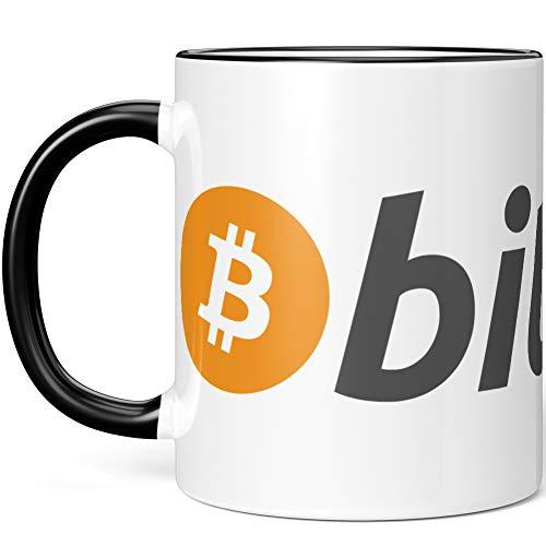 JUNIWORDS Tasse, Bitcoin Logo Symbol (1000273), Wähle Farbe, Schwarz