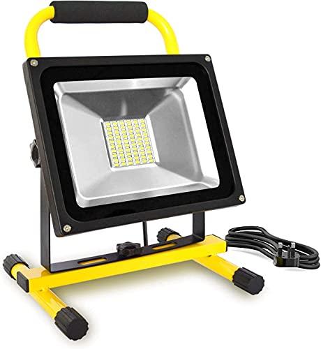 WYDM Luz de Trabajo LED de 50W con Enchufe, Cable de 5M 5000LM Luz de Trabajo LED no Recargable IP65 Impermeable para Obras de construcción Garaje Luz del día Blanco
