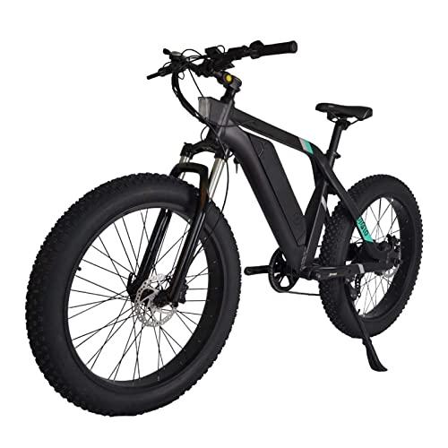 Liu Yu·casa creativa Bicicleta eléctrica 26' Potente 750W 48V Batería extraíble 7 velocidades Engranajes Fat Tire Bicicletas eléctricas con Pedal Assist para Hombre Mujer (Color : Negro)