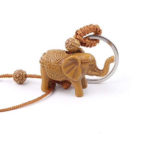 Portachiavi Uomo Donna S Elefante Scultura Portachiavi in Legno con Ciondolo Portachiavi Accessori per Gioielli A Catena