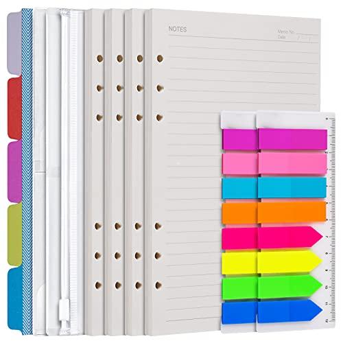 Set di 4 ricambi di fogli formato A5, inserti per agenda personale per quaderno diario, divisori per raccoglitori 5 pezzi, tasche raccoglitore 3 pezzi---carta a righe
