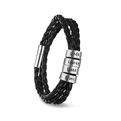 Personalized Mens Black Braid Leather Bracelets with 2-5 Names Engraved in Custom Beads Custom ID Bracelet for Men (4 Beads)