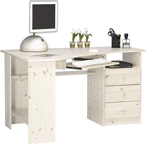 Steens Kent Schreibtisch/ Eckschreibtisch, 3 Schubladen, Tastaturauszug, 133 x 72 x 95 cm (B/H/T), Kiefer massiv, weiß